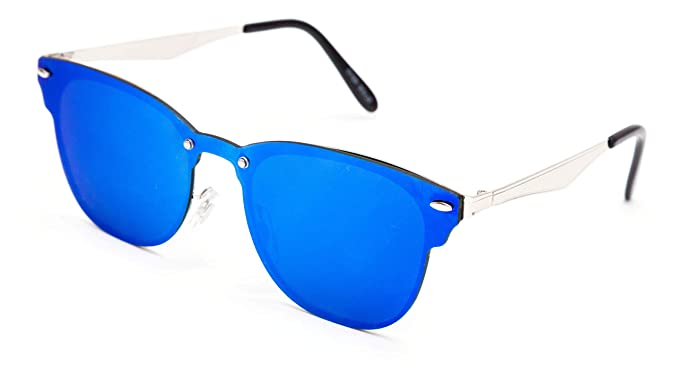 8c8957d3d5 THEWHOOP UniBody Lens Mirror Goggles Sunglasses for Men and Women (Blue Gold )