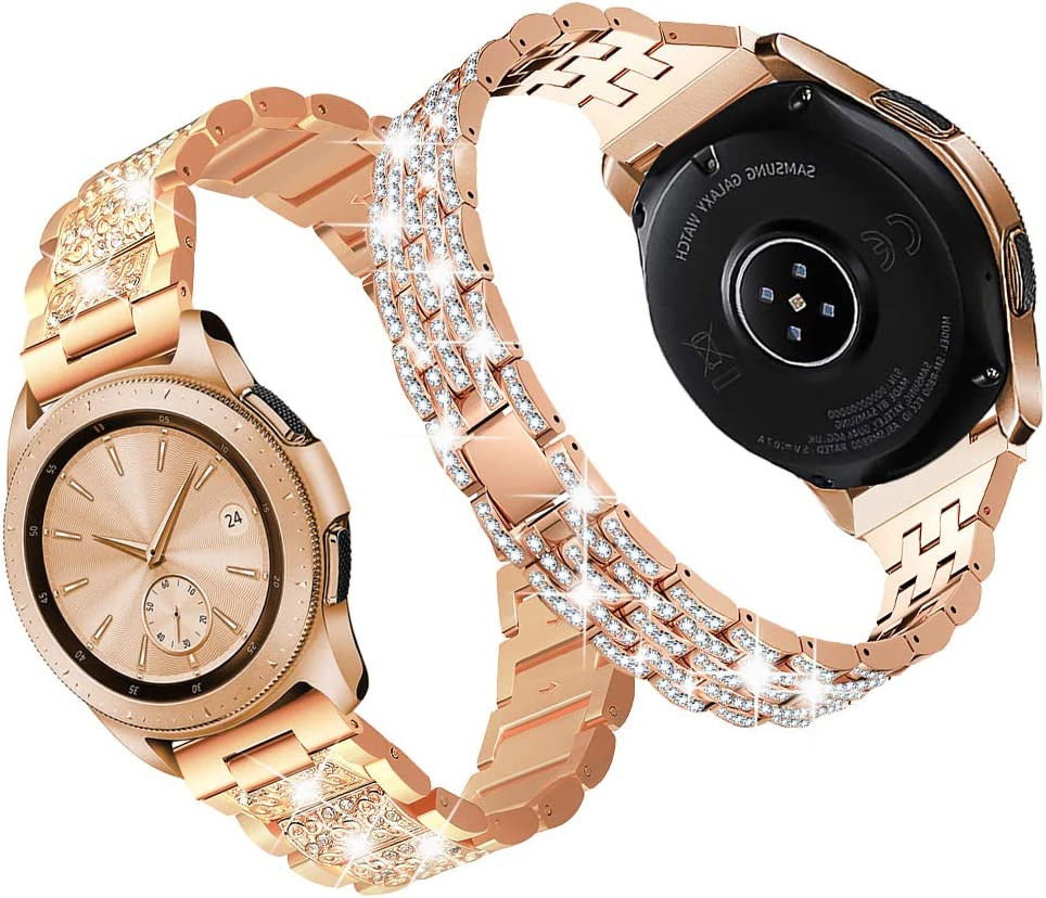 DSYTOM Compatible with Galaxy Watch 42mm Band, 20mm 2 Pack Metal Strap Rhinestones Bracelet for Samsung Galaxy Watch Active 40mm/Galaxy Active 2 40mm/44mm Women(Rose Gold)