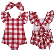 Clearance Sale Infant Baby Girls Cute Plaid Bowknot Ruffles Romper Bodysuit Headband Clothes Set (Red, 6-12M)