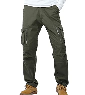 4f3254801bfc8e AYG Mens Warm Trousers Polar Fleece Thickened Cargo Camo Pants Combat (Army  Green,29