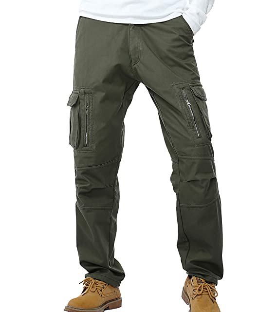 sale online discount for sale top-rated cheap AYG Mens Warm Cargo Trousers Polar Fleece Thickened Cargo Camo Pants Combat  Wiast