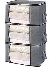 Jasinber Set de 3 Caja de almacenamiento de ropa plegable con ventana transparente para ropa, suéter, manta, edredón, ropa de cama (Gris)