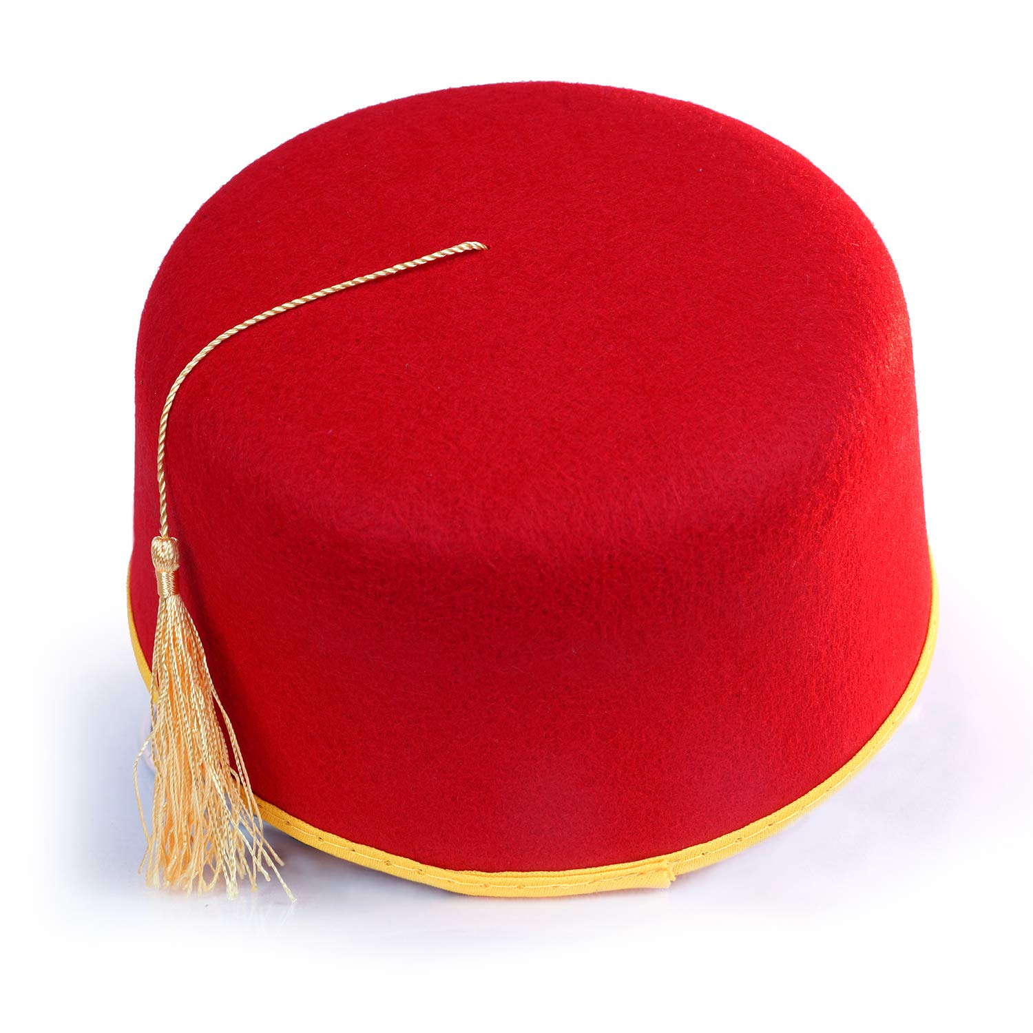 Red Fez Hat - Red with Gold Tassel & Trim - Costume Accessory