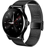 K88H Bluetooth Smart Wrist Watch with Stainless Steel Band; Digital Sport Watch, Compatible with IOS, Android Phone; Professional Statistical, Pedometer and Heart Rate Monitor (Black)