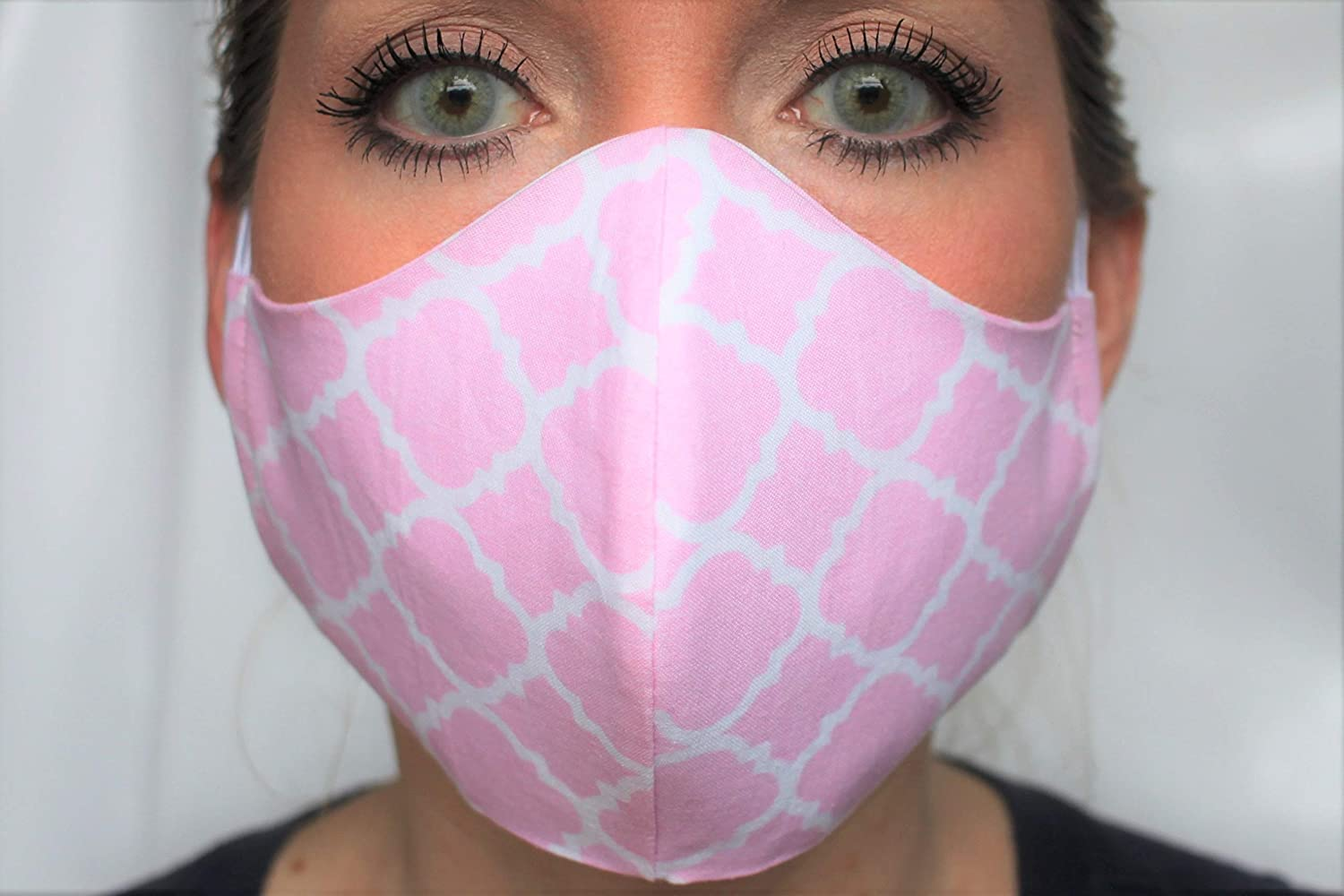 Cute Waterproof Face Mask - 3 Layer construction - Washable - Elastic Ear Loops (Peachy Pink)