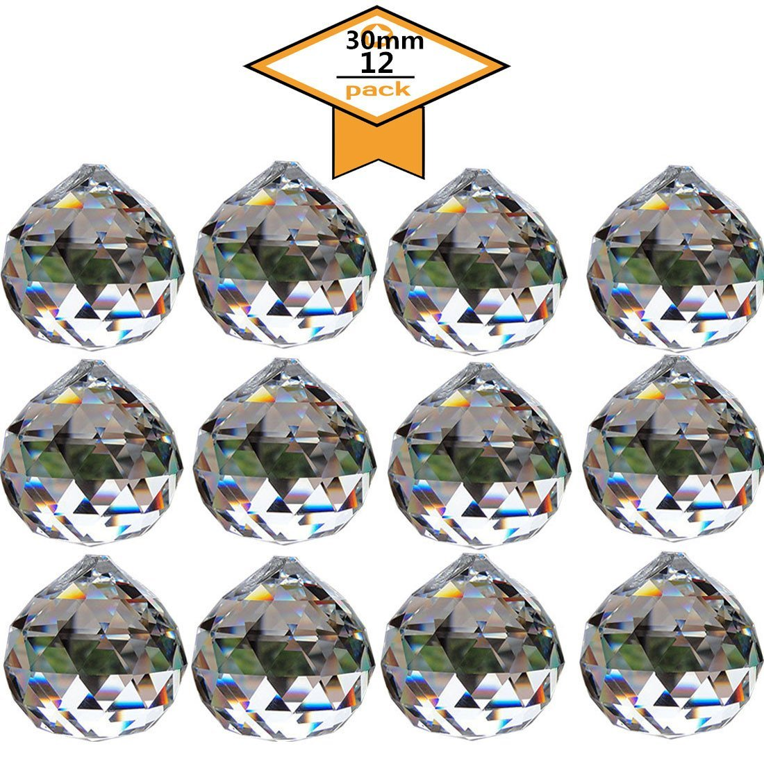 Yoker Clear Crystal Acrylic Ball Prisms Pendant Feng Shui Hanging Faceted Prism Balls Gems Bead Strands 16 Feet (12PCS X 30mm Clear)