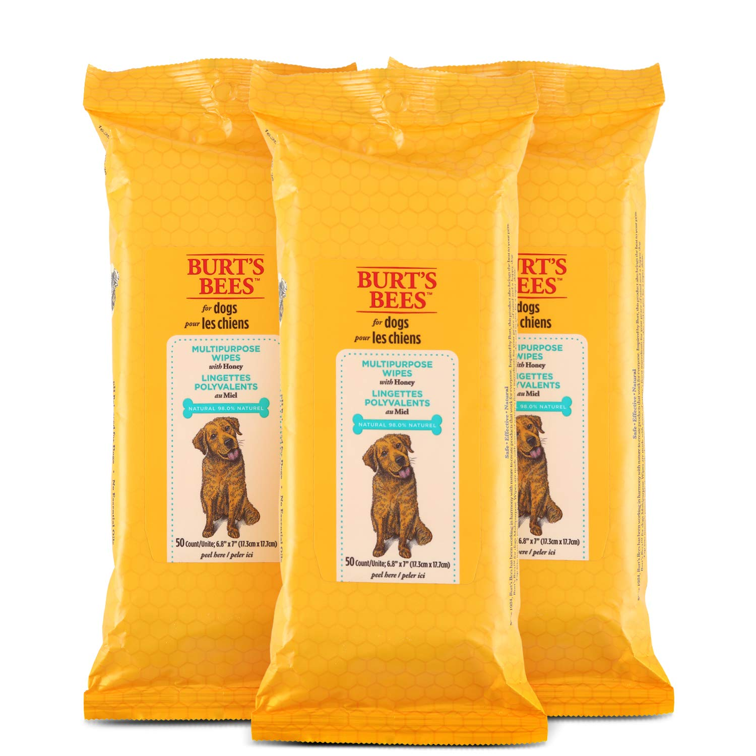 Burt's Bees For Dogs Multipurpose Grooming Wipes | Puppy and Dog Wipes For Cleaning, 50 Count - 3 Pack by Burt's Bees for Pets