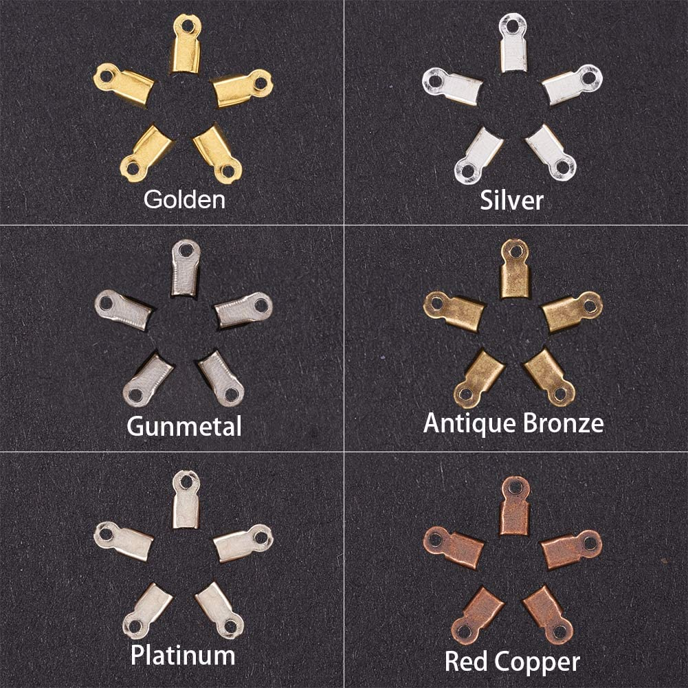 PandaHall Elite About 600 Pcs Iron Fold Over Cord Ends for Leather 3mm Terminators End Tips 3 Colors for Jewelry Making