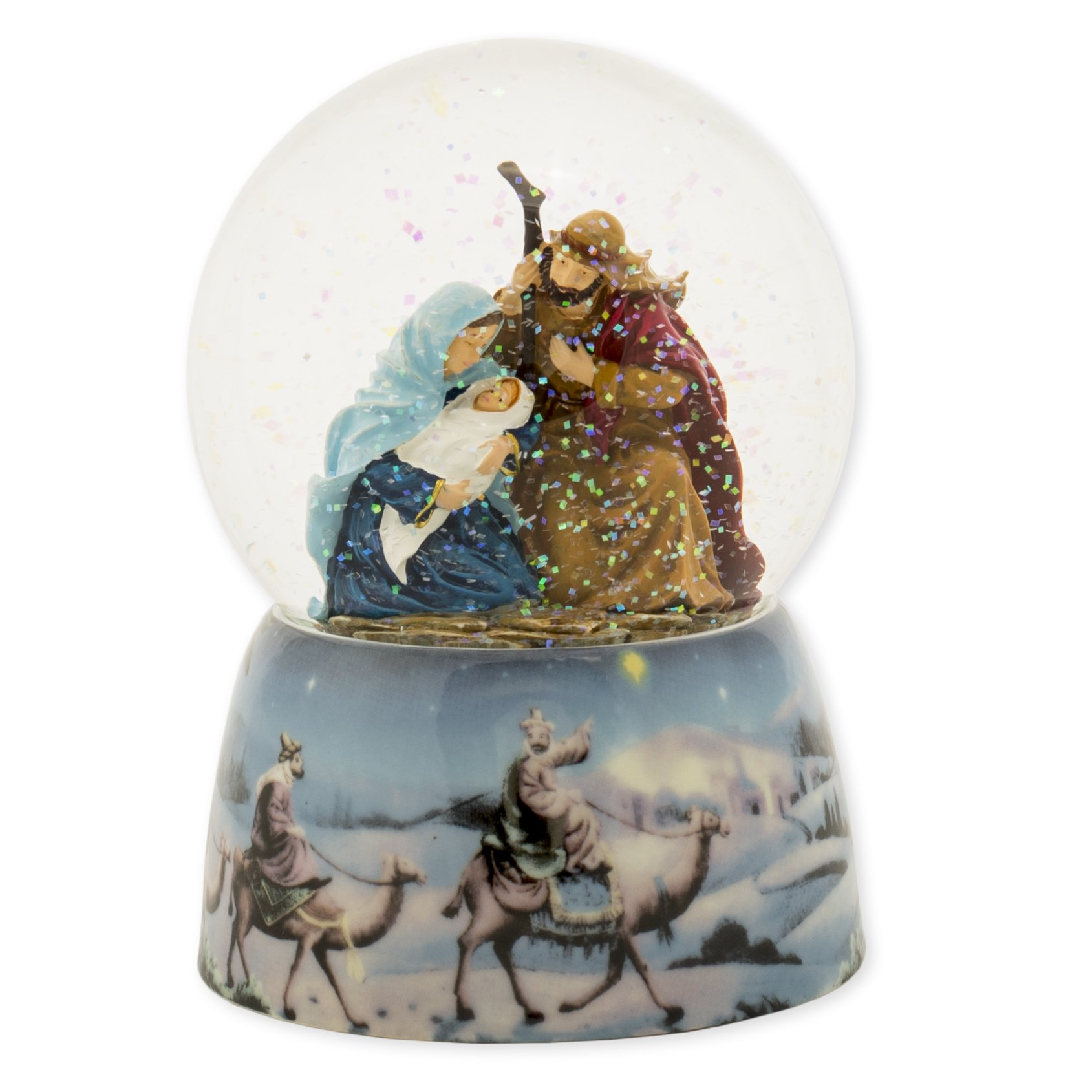 Holy Family and Three Kings 5 inch Musical Water Globe Nativity Plays Tune Silent Night