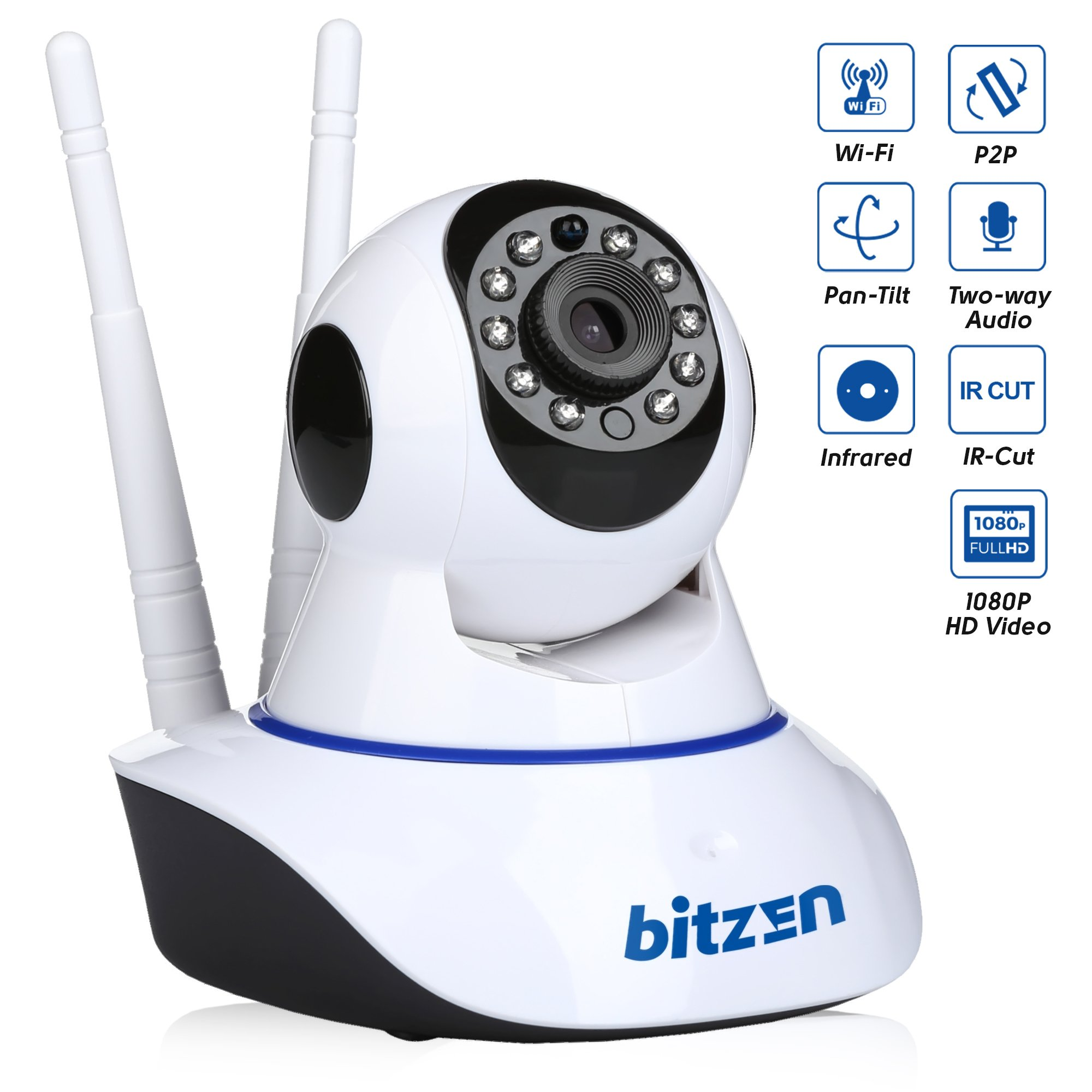 Bitzen IP Wireless Home Security Camera WiFi - Mountable Full Color Motion Detection 1080p Full HD Indoor Dome Surveillance Camera - Night Vision Two Way Audio Video Baby Monitor System
