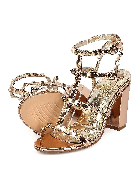 20f9a99f84 Amazon.com | Alrisco Women Metallic Leatherette Open Toe Strappy Studded  Block Heel Sandal HB23 - Rose Gold Metallic (Size: 6.5) | Heeled Sandals