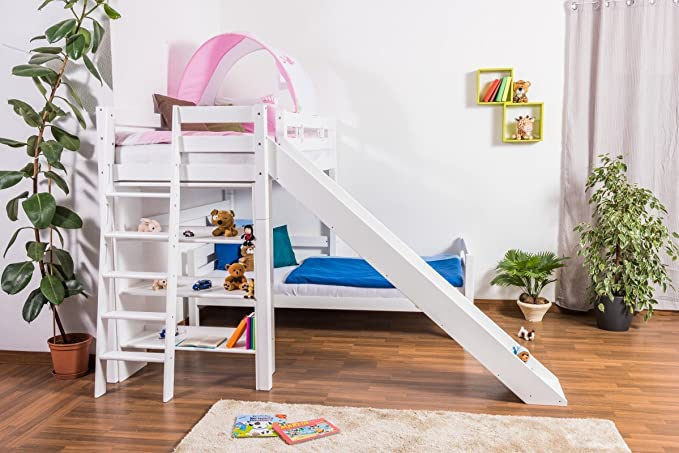 Etagenbett Moritz Anleitung : Kinderbett etagenbett pauli buche vollholz massiv weiß lackiert mit