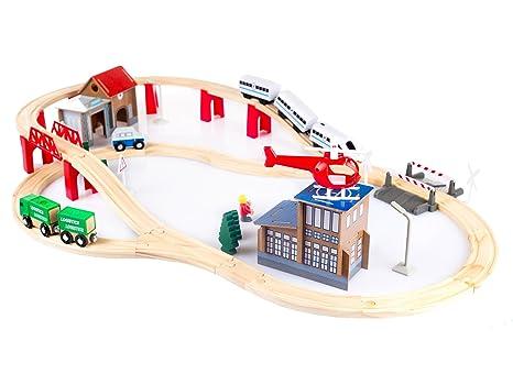 Kinder Holzspielzeug Track Trains Eisenbahn Brücke Komponente Tunnel Zwei Weg