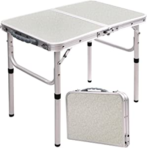 "RedSwing Small Folding Table Adjustable Height 23.6""x15.7""x10.2""/19"", Lightweight Aluminum Camping Table, 2 Feet"