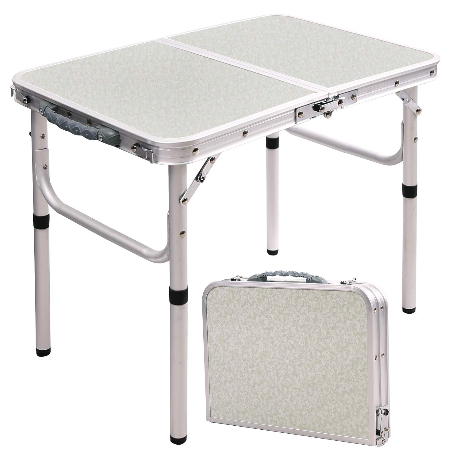 RedSwing Small Folding Table Adjustable Height 23.6 x15.7 x10.2 19 , Lightweight Aluminum Camping Table, 2 Feet