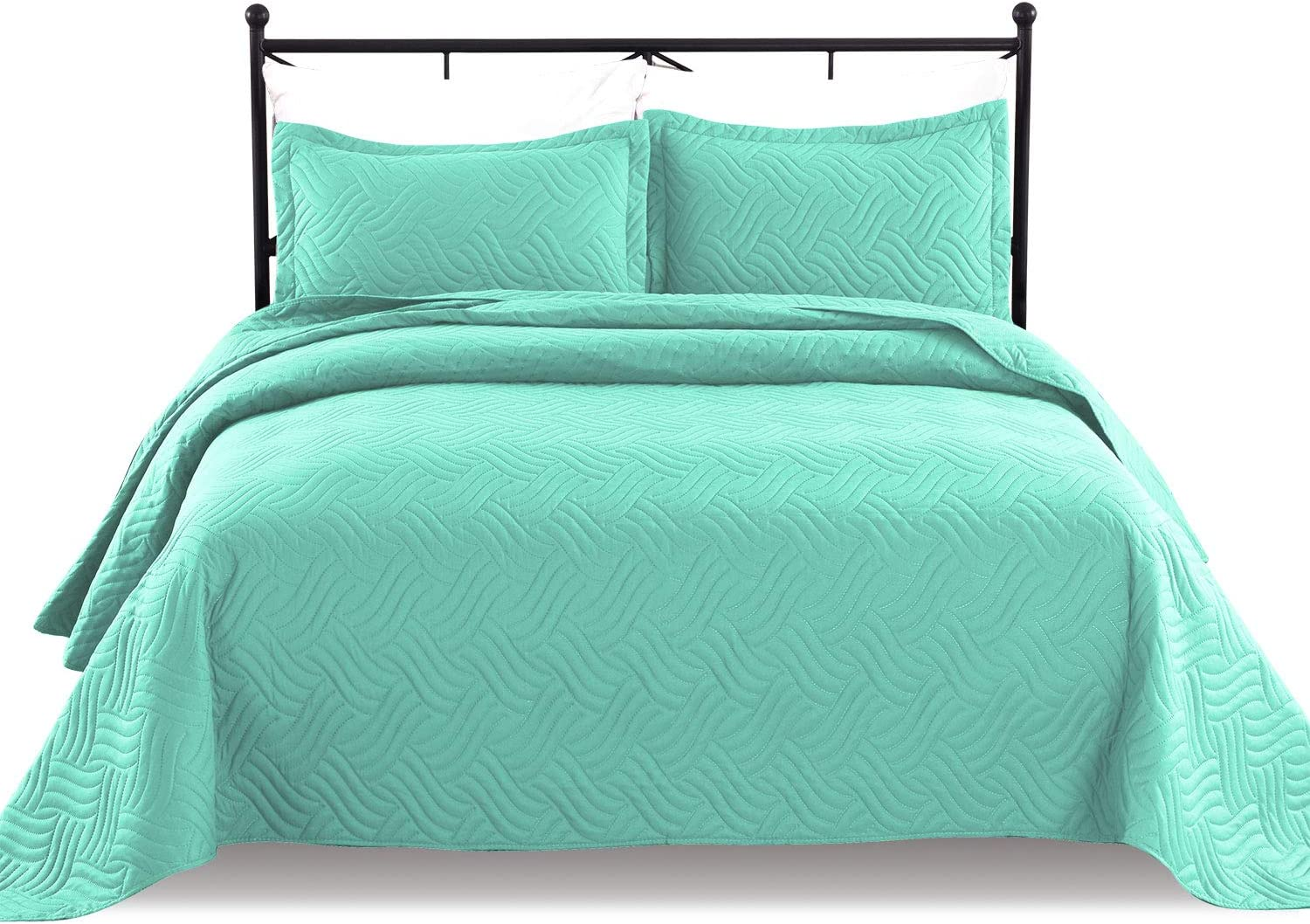 Luxe Bedding 3-Piece Oversized Quilted Bedspread Coverlet Set (Full/Queen, WAVA/Turquoise)