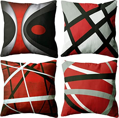 Amazon Com Absop Modern Abstract Red Stripes Throw Pillow Covers Set Of 4 Gray Black White Lines Decorative Cases Home Decor Square Cushion 18x18 Inches Pillowcases Kitchen