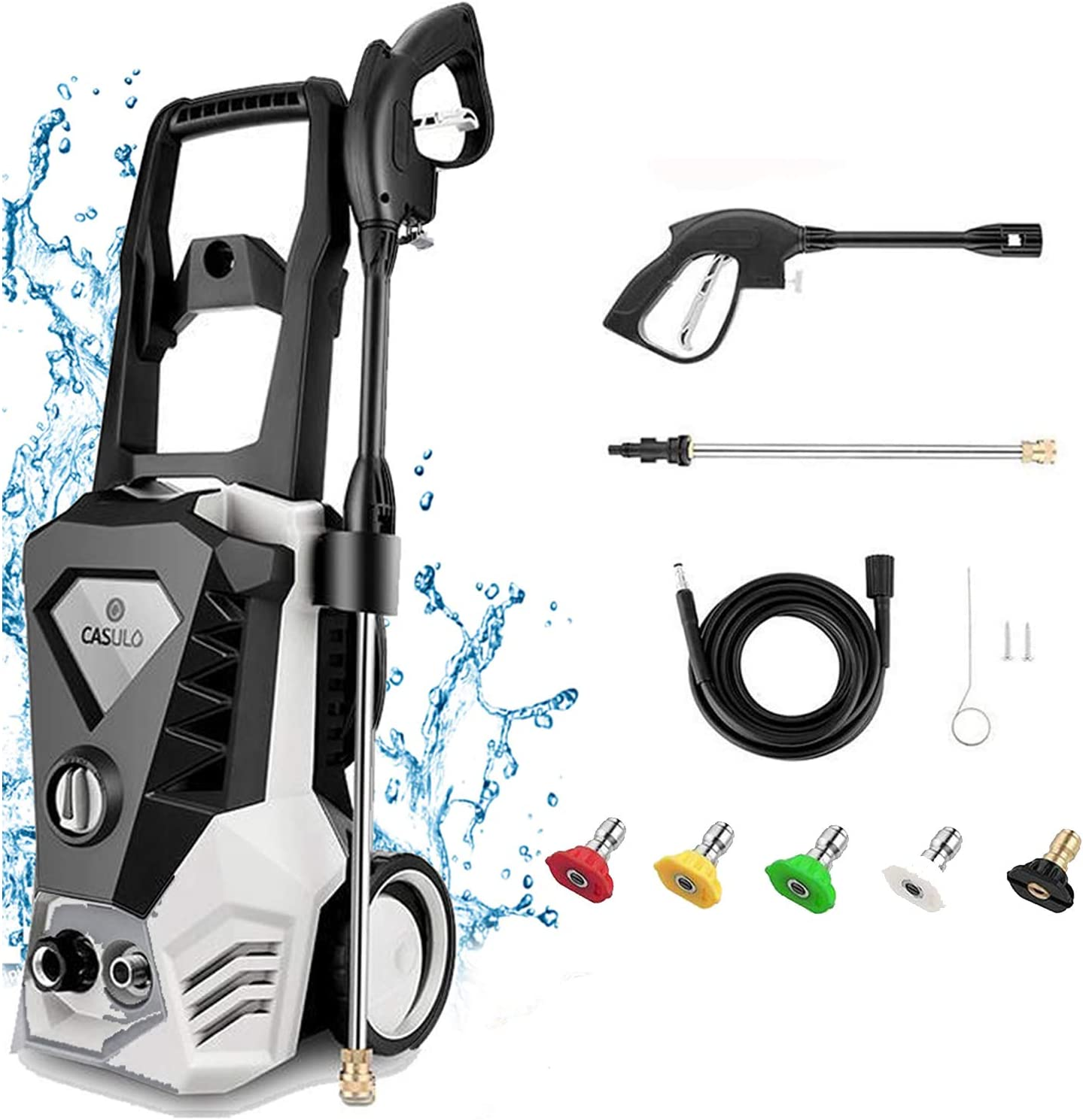 Pressure Washer Electric 3500 PSI Max 2.6GPM 1800W High Pressure Washer Car White Power Washer with Spray Gun, 5 Adjustable Nozzles, 32ft Cable, Detergent Tank, for Garden/Home/Driveways [US Stock]