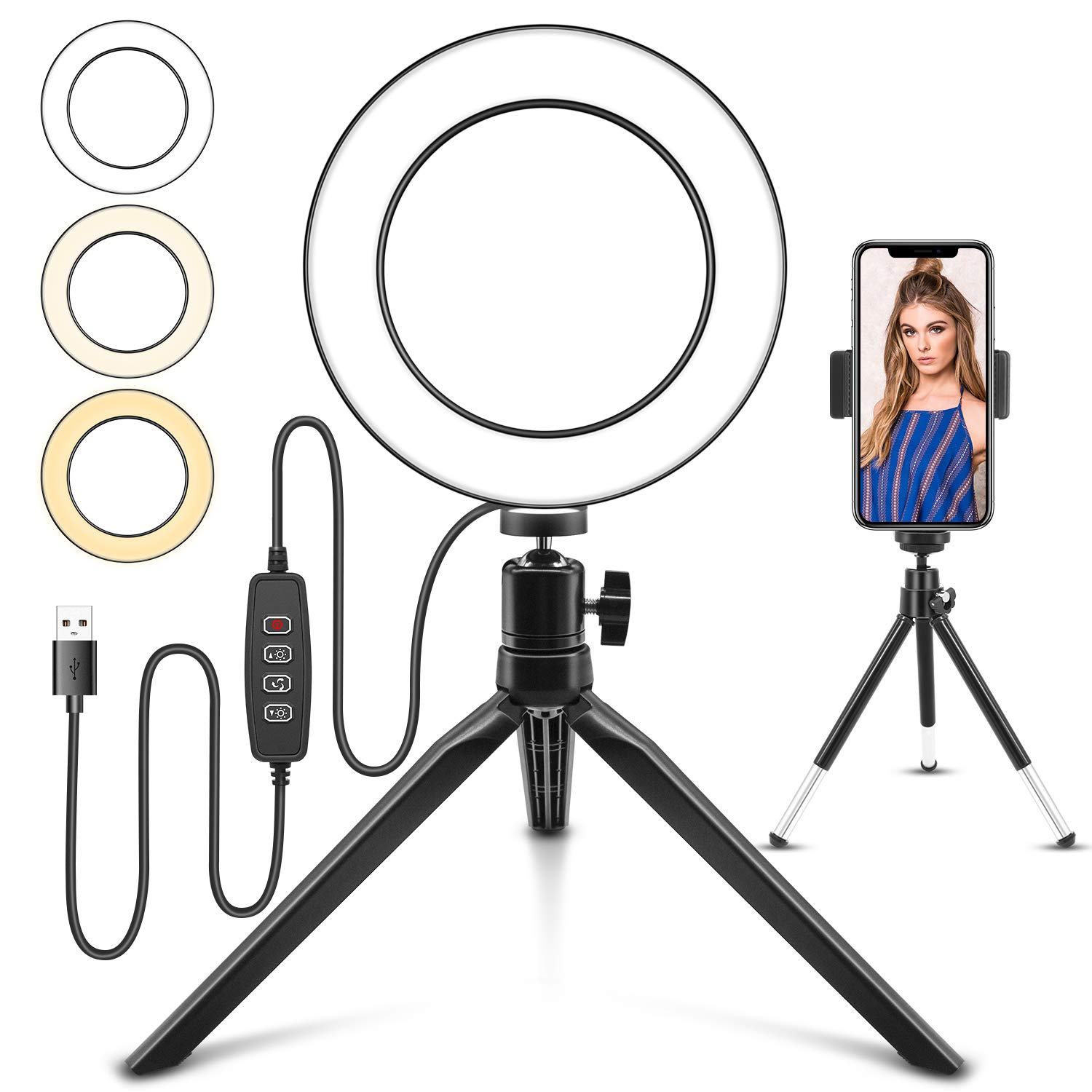 "Ring Light, Jurgen K 6"" Selfie Ring Light with Tripod Stand and Cell Phone Holder for Live Stream, YouTube Video or Makeup, Mini LED Camera Light with 3 Light Modes and 11 Brightness Level"