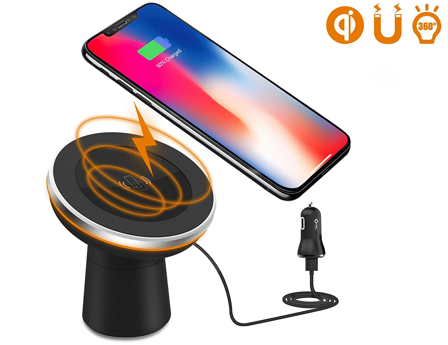 Wireless Car Charger,Dgtal Car Mount Phone Holder Air Vent or Dashboard for iPhone XS/iPhone XS Max/iPhone XR/iPhone X/ 8/8 Plus Samsung Galaxy Note 9/S9/S9 Plus All Qi-Enabled Devices