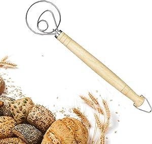 "Danish Dough Whisk, Dutch Whisk, MUBEE 13"" Stainless Steel Danish Flour Mixing & Wooden Danish Whisk Dutch Style Artisan Blender for Bread, Batter, Cake, Pastry Dough - Perfect Bakers Gift (1 Pack)"
