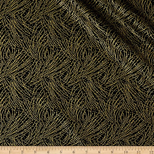 - Benartex Autumn Leaves Golden Pine Metallic Black Fabric by The Yard