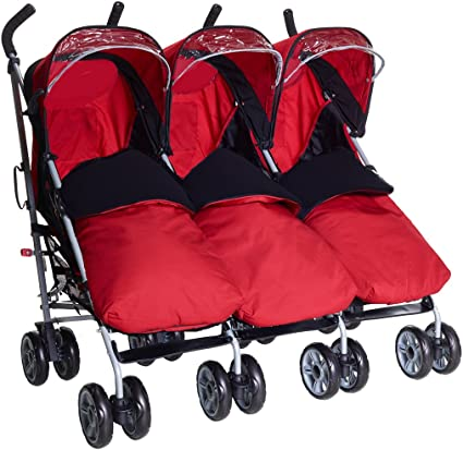 Triplet buggy tandem pushchair (With 3 x red footmuffs, Red)