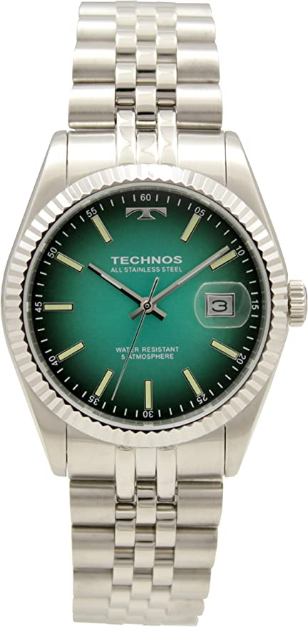 [テクノス] 腕時計 3針 デイト T9655SM メンズ シルバー