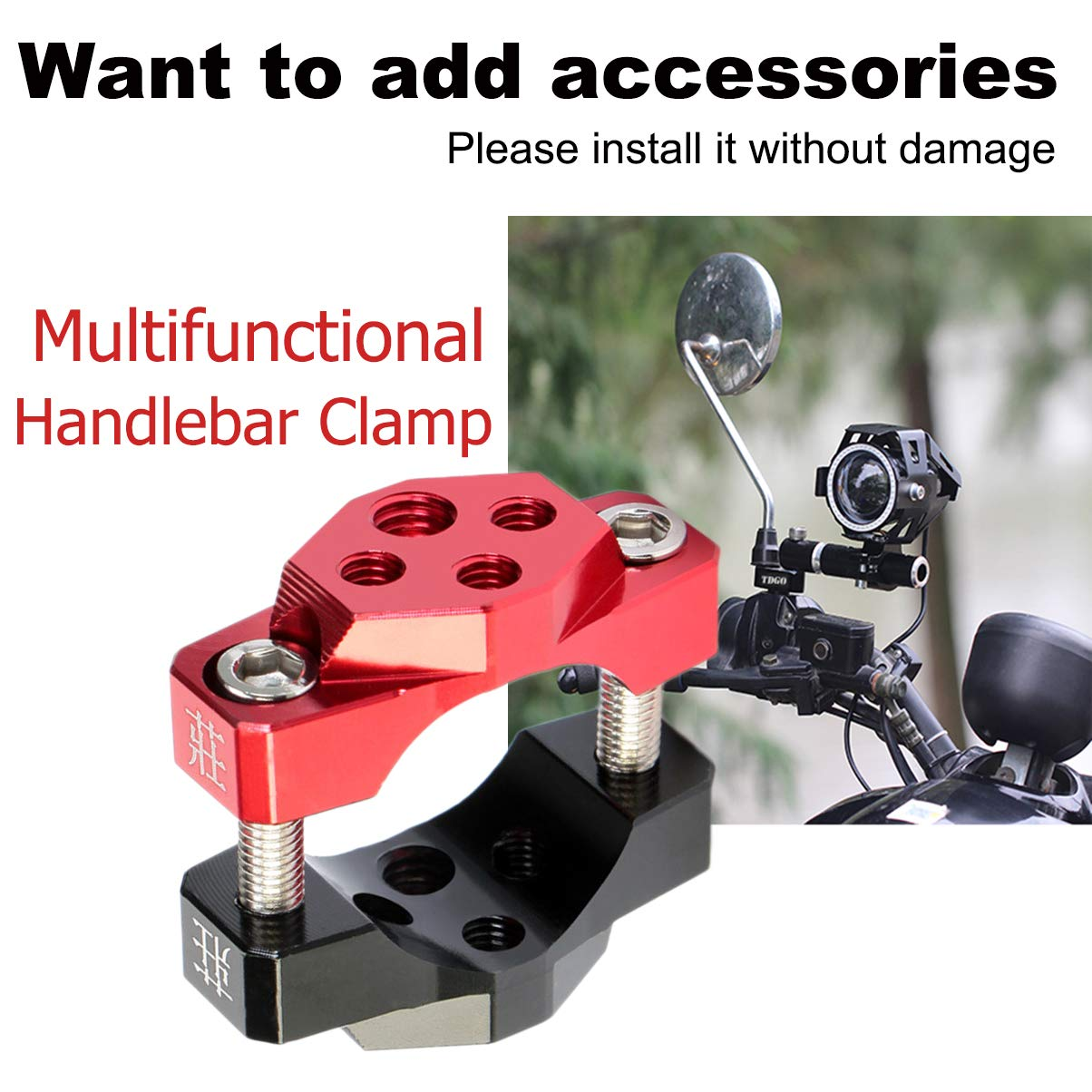 Sportbike MOTOBA Universal Motorcycle Handlebar Clamp Scooter Adjustable Stem Mirror Extender Adapter Aluminum Offroad Light Holder for Harley