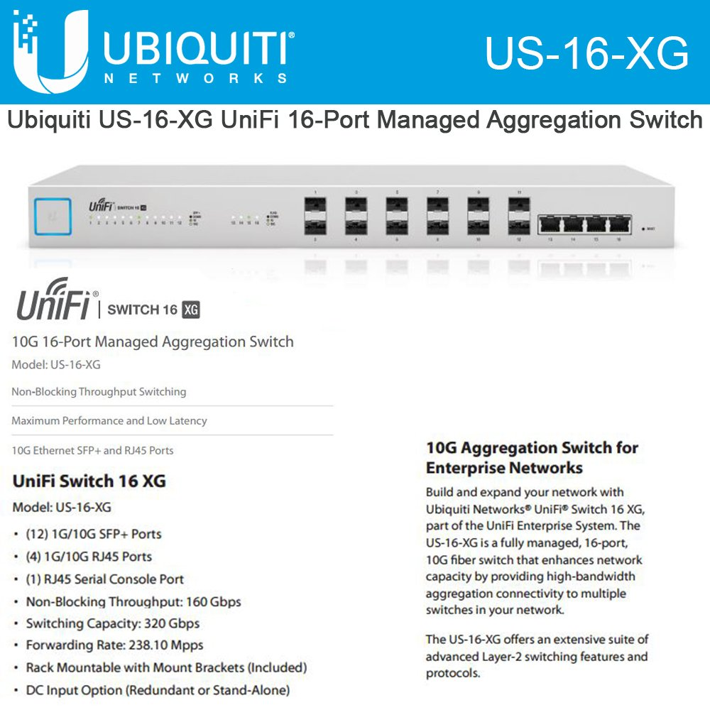 Ubiquiti Networks US-16-XG 10G 16-Port Managed Aggregation Switch