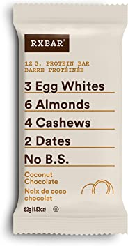RXBAR Whole Food Protein Bar, Coconut Chocolate, 12 Count, 52g