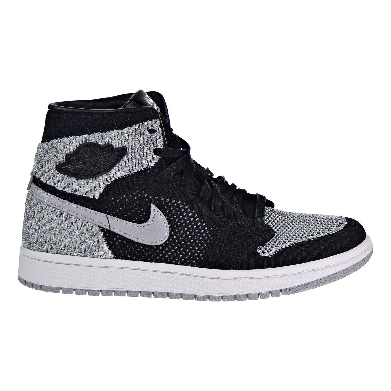 NIKE Jordan Air 1 Retro High Flyknit Big Kid's Shoes Black/Wolf Grey/White 919702-003 (7 M US)
