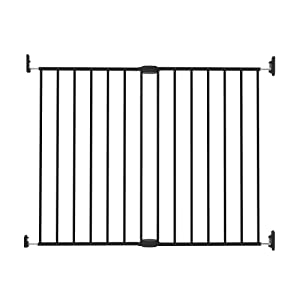 Perma Child Safety Locking Walk Through Baby Gate for Stairs, Extra Wide and Extra Tall, Warm Black
