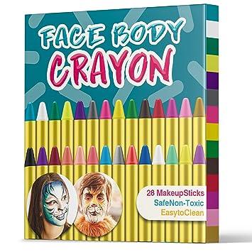 Sicuro e Non Tossico Ideale per Carnevale Cosplay Pasqua Trucchi per Truccabimbi,Emooqi 24 Colori Fviso Body Paint Pittura con 4 Stencil Face Paint per Bambini Feste a Tema 24 Colori