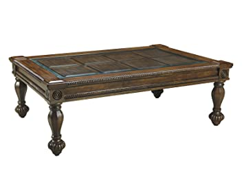 Ashley Furniture Signature Design   Mantera Coffee Table   Cocktail Height    Rustic Style   Rectangular