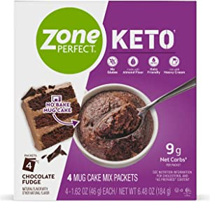 ZonePerfect Keto Mug Cake, Gluten-Free No Bake Mug Cake Mix, Keto-Friendly Snack with 11g Net Carbs as Prepared, Great Taste Guaranteed, Chocolate Fudge, 16 Packets