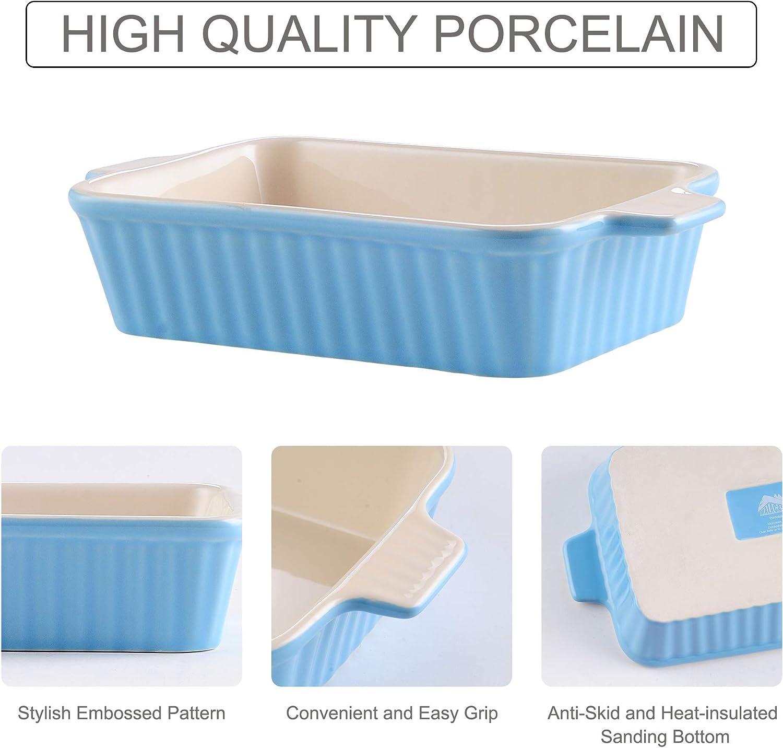 Serie Bake.bake 2er Eckig, 12//13,3 Zoll Rot1 MALACASA 2er Set Porzellan Backform Kuchenform Brotbackform Back Schale Auflaufform Ofenform Suppenschale