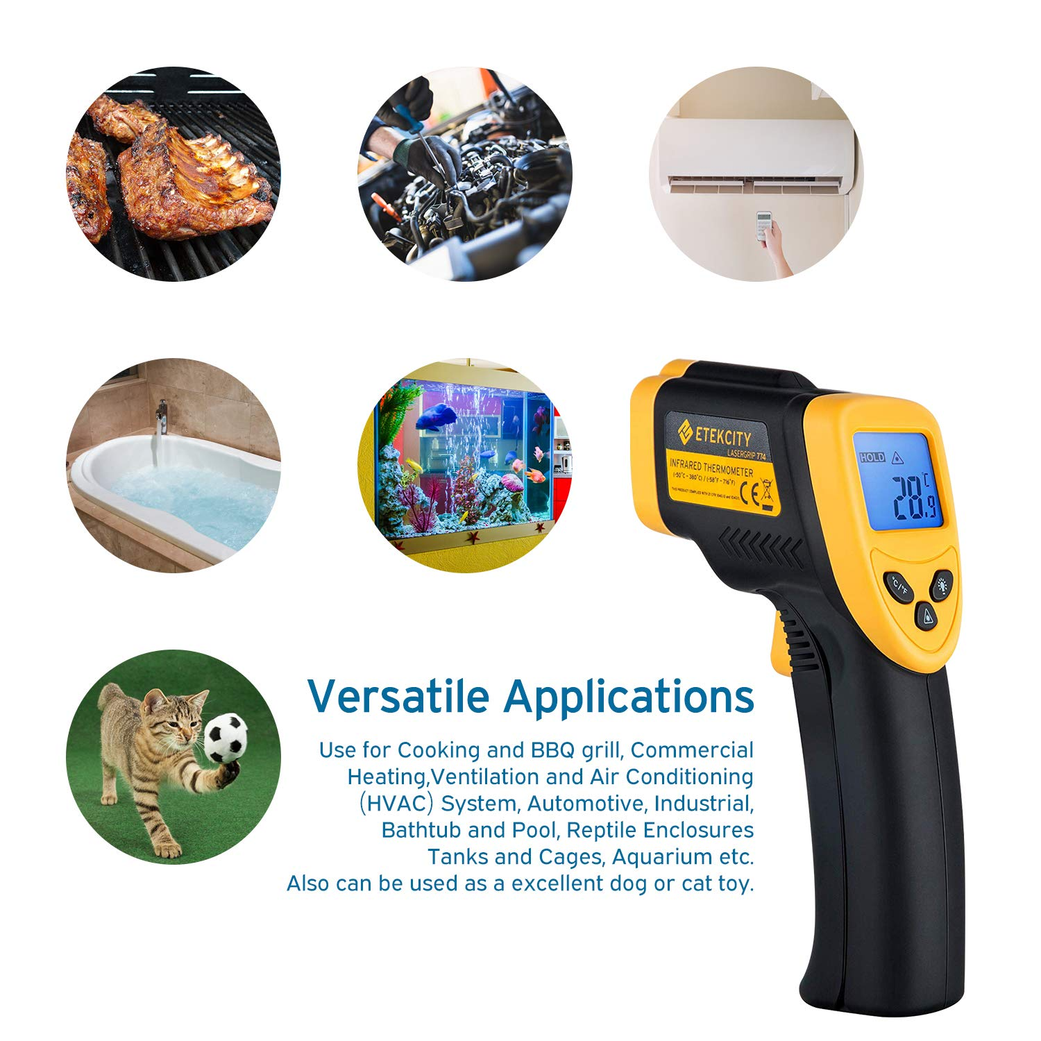 Etekcity Lasergrip 774 Non-contact Digital Laser Infrared Thermometer Temperature Gun -58℉~ 716℉ (-50℃ ~ 380℃), Yellow and Black by Etekcity (Image #4)