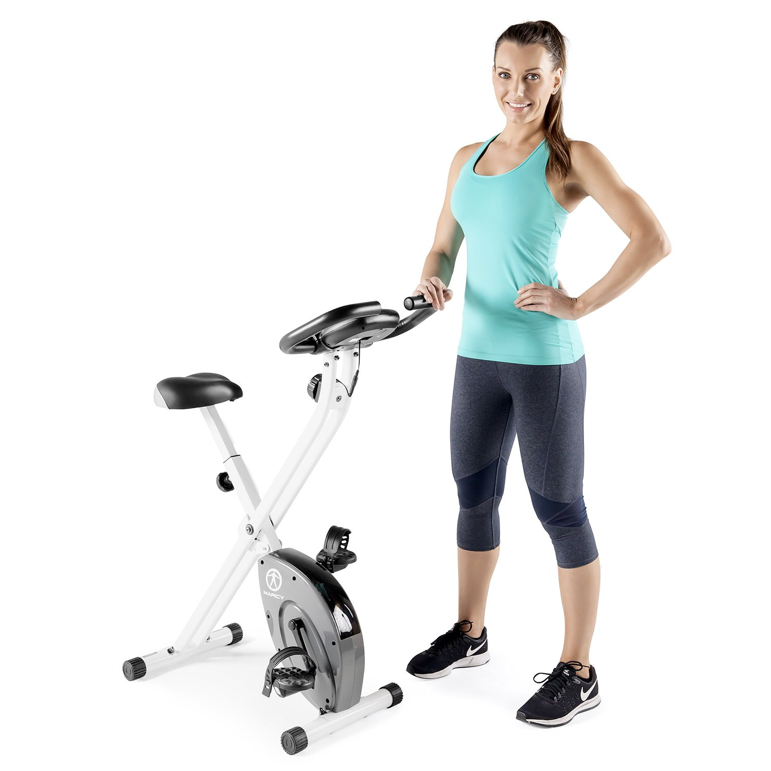 $134.99 (was $263) Marcy Foldable Exercise Bike – White – Counterweighted Pedals with Adjustable Foot Straps NS-652