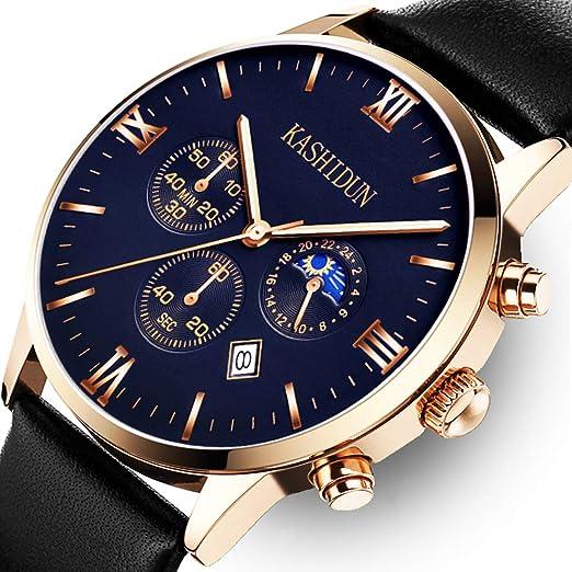 KASHIDUN Relojes Hombre Acero Inoxidable Reloj de Pulsera de Lujo Moda Cronómetro (A 1)