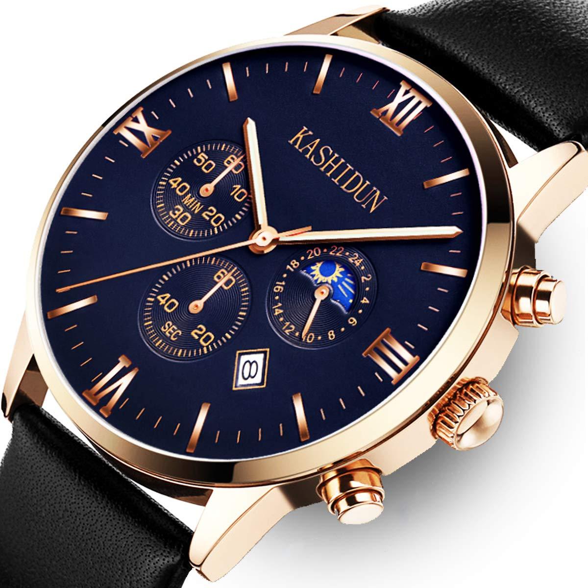 KASHIDUN Men's Watches Luxury Sports Casual Quartz Analog Waterproof Wrist Watch Black Color