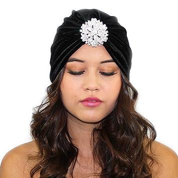 0e7b5bfd86e7b Amazon.com   Crystal Flapper Velvet Turban (Black)   Beauty