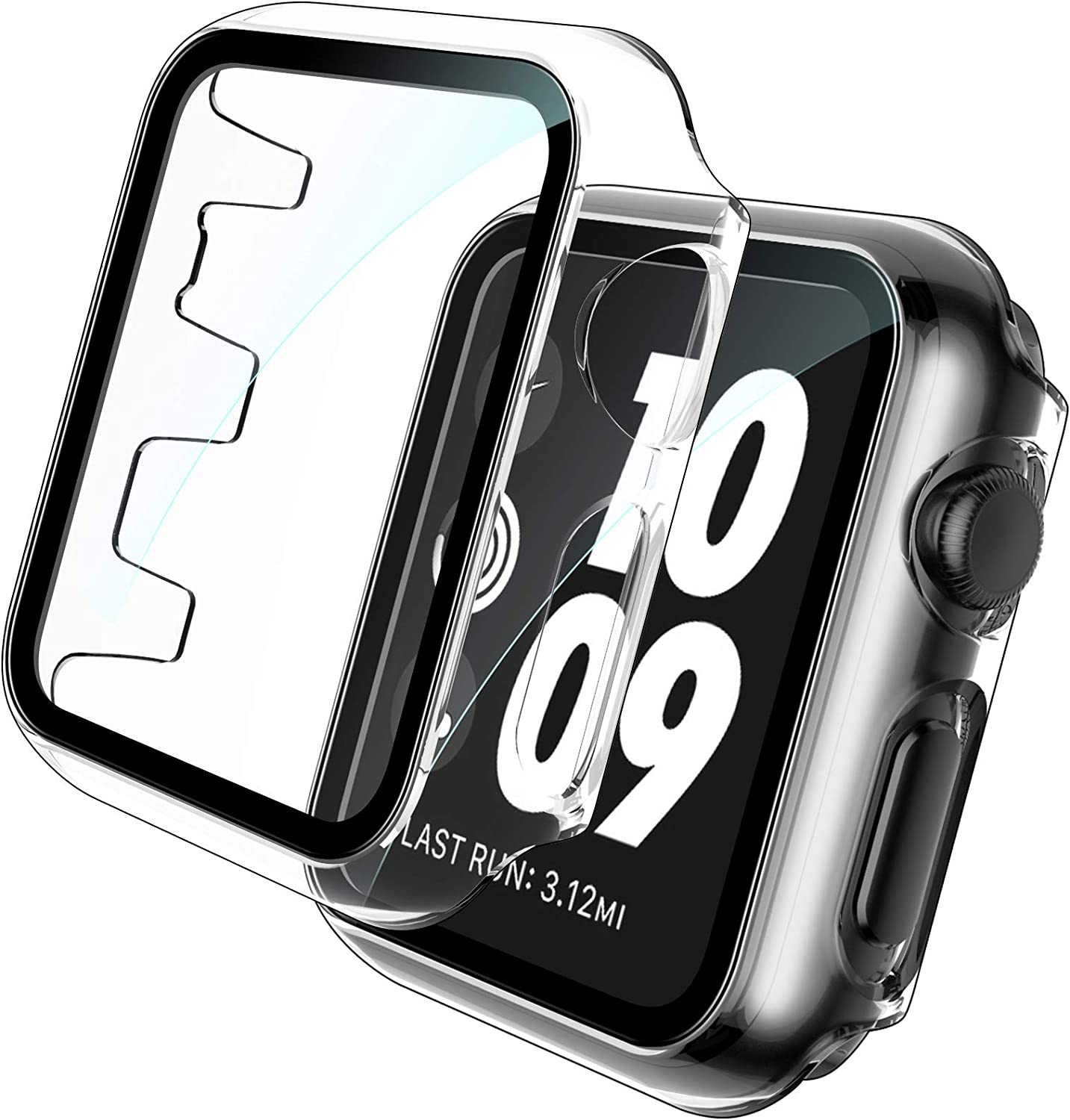 TOCOL 2 Pack Case Compatible with Apple Watch 42mm Series 3 2 1 with Built-in Tempered Glass Screen Protector - All-Around Ultra Thin Bumper Full Cover Hard PC Protective Case for iWatch 42mm - Clear