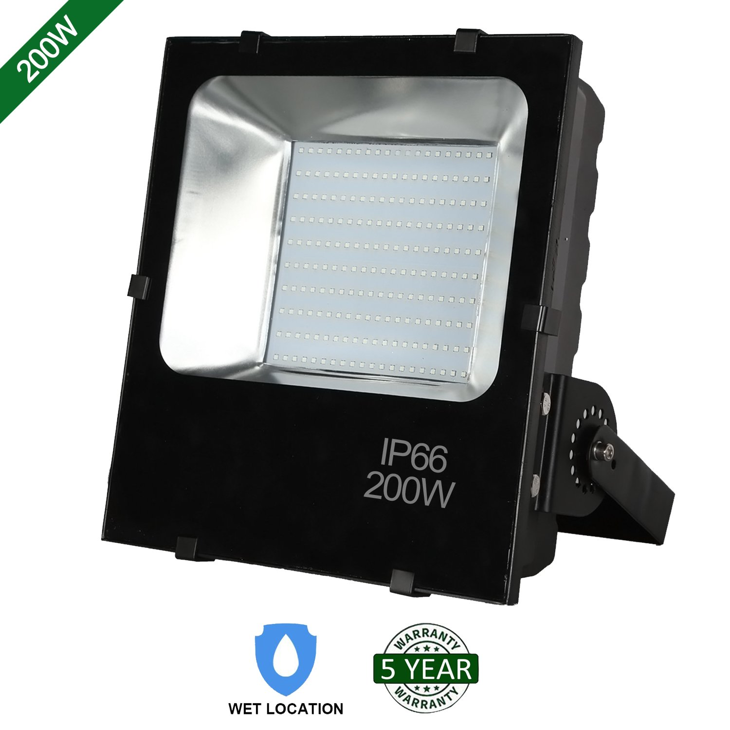 Hykolity 200W LED Flood Light Outdoor Security Light Weatherproof Parking Lot Warehouse Perimeter Lighting Fixture [1000W Equivalent] High Power 20000lm 5000k Residential/Commercial Use
