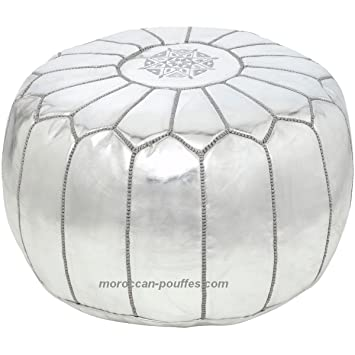 Remarkable Moroccan Poufs Leather Luxury Ottomans Footstools Silver Unstuffed Theyellowbook Wood Chair Design Ideas Theyellowbookinfo
