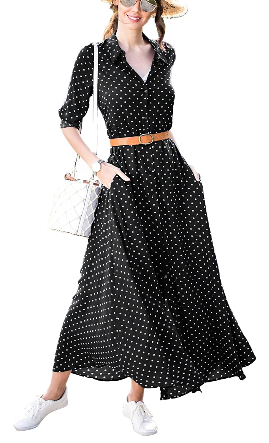 3a5ee7539d091 Button Down Collar,Roll Up Long Sleeve,Vintage Polka Dot Print A Line  Buttons Up Flowy Maxi Long Dresses with Pockets Suitable for dating,casual  everyday ...