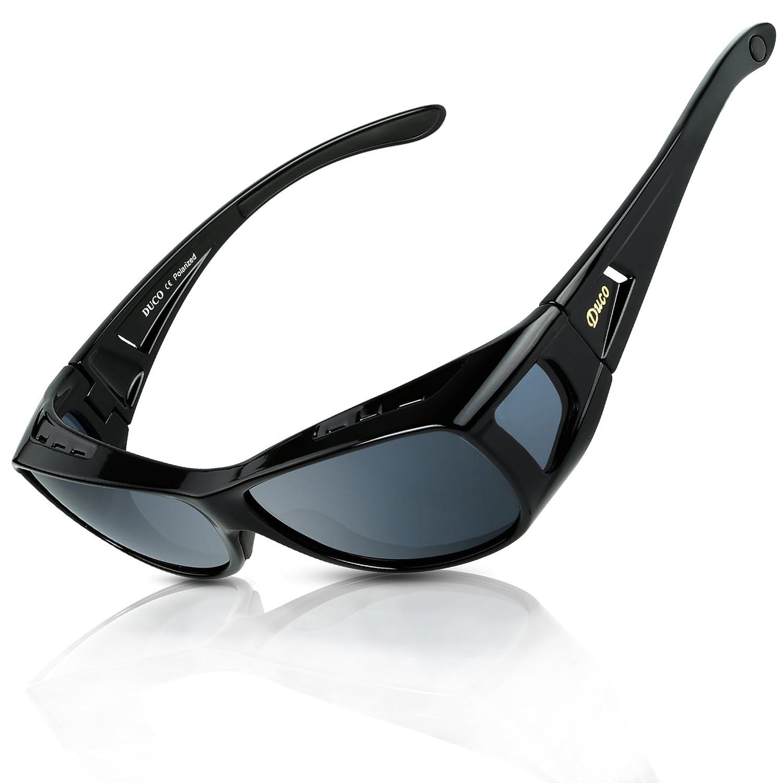 f51833dc1b9 DUCO Men s and Women s Polarised Wrap Around Fit-Over Sunglasses over  Prescription Glasses 8953