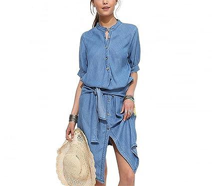 9ef8e3faec4 B dressy Casual New Denim Dress Women Summer New Short Sleeve Vestidos  Office Beach Tunics Clothing