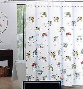 Amazon.com: Cynthia Rowley Indian Elephant Fabric Shower Curtain ...