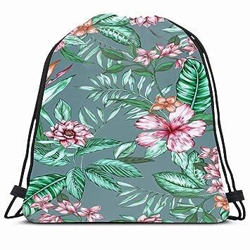 Flowers Birds Printing Gym Sackpack Drawstring Bag Backpack Sport String Bag